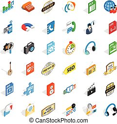 Modem icons set, isometric style