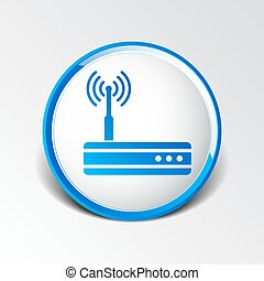 modem, wifi, instradatore, fili, icona, vettore, mozzo, ...