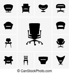 moden, cadeira, ícones