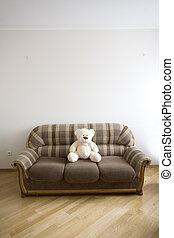 moden, luxo, madeira, interior, -, corredor, com, a, sofá,...