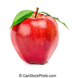 moden, rødt æble