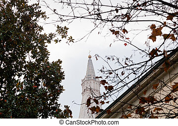 modena, olaszország, csengő, ősz, székesegyház, bástya, kilátás