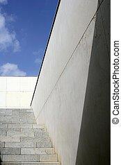 moder, architektura, betonovat, schody, schodiště