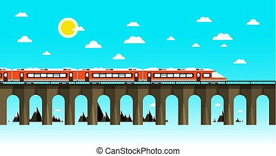 Moder Train on Old Bridge Over Sea. Flat Design Nature Scene. Abstract Vector Landscape.
