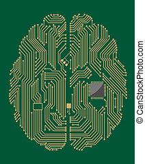 moderkort, hjärna, chips, dator