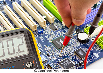 moderkort, pc, testning, grundlinje, mätning