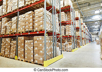 moderm warehouse - interior of modern warehouse. Rows of...