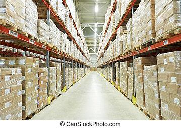 moderm warehouse - interior of warehouse. Rows of shelves...