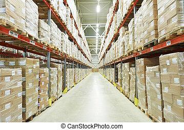 moderm warehouse - interior of warehouse. Rows of shelves...