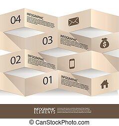 moderní, abstraktní, 3, origami, prapor, infographic