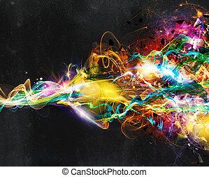 moderní, abstraktní, pohyb, prapor, dále, tajnůstkářský background
