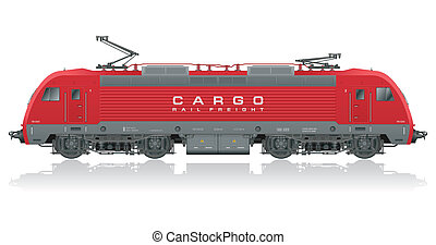 moderní, elektrický, červeň, lokomotiva
