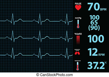 moderní, elektrokardiogram, monitor