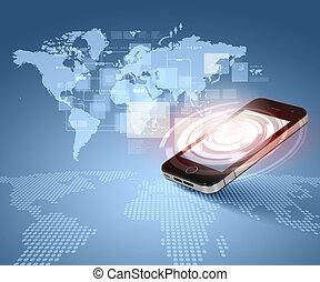 moderní, komunikace, technika