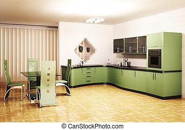 moderní, kuchyně, vnitřní