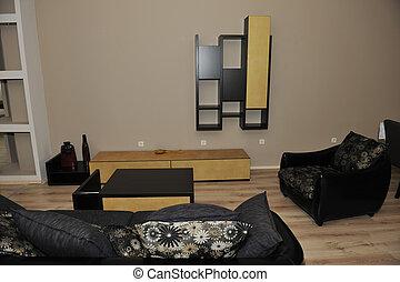 moderní, livingroom, domovní