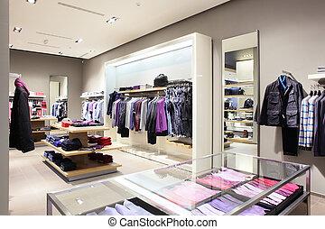 moderní, móda, sklad, šaty