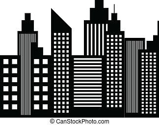 moderní, město, mrakodrapy, stavení