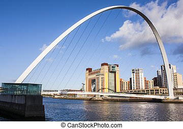 moderní, můstek, dále, řeka, do, newcastle