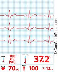 moderní, monitor, elektrokardiogram