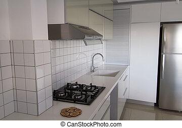 moderní, neposkvrněný, kuchyně, .
