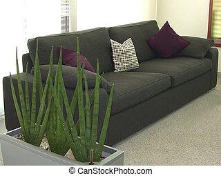 moderní obývací, místo, -, lenošit