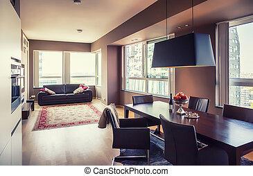 moderní obývací, místo