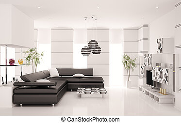 moderní obývací, místo, vnitřní, 3, render