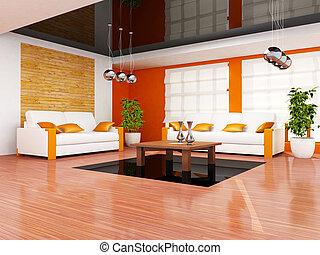 moderní obývací, místo, vnitřní