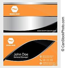 moderní, pomeranč, business card, design