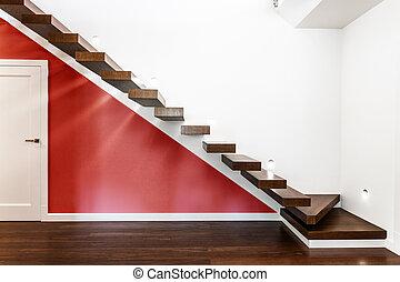 moderní, schody, ozdobit iniciálkami