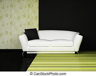 moderní, vnitřek navrhovat, o, obývací pokoj celodenní