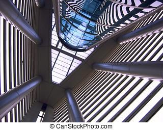 moderní, vnitřní, architektura