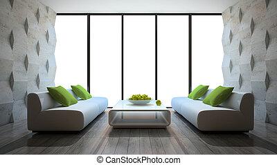 moderní, vnitřní, s, dva, pohovka, a, betonový hradba,...