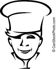 moderní, young vrchní kuchař, nebo, vařit