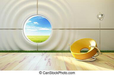 modern, ácsorog, szoba, belső