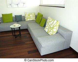 modern élénk, szoba, -, ácsorog