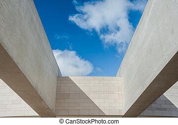 modern építészet, alatt, a, ég
