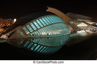 modern építészet, alatt, valencia, spanyolország