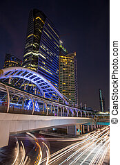 modern épület, alatt, város, háttér, -ban, félhomály, idő