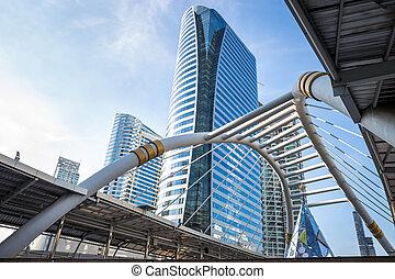 modern épület, alatt, város, háttér