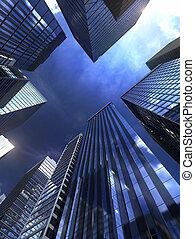 modern épület, alatt, város