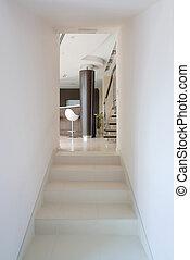 modern, épület, belső