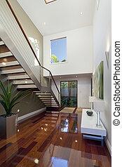 modern, épület, belső, noha, lépcsőház