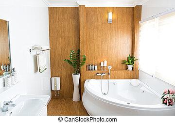 modern, épület, fürdőszoba, belső