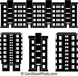 modern, épület, körvonal, állhatatos