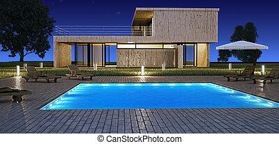 modern, épület, noha, pocsolya