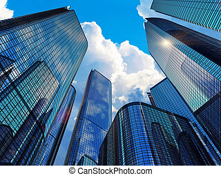 modern, épületek, ügy