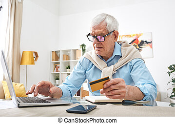 modern, öregedő, online, ember, vásárlás