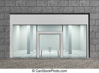 modern, üres, készlet eleje, noha, nagy, windows